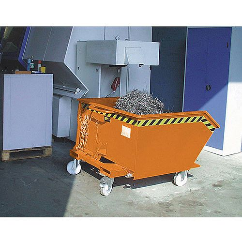 Automatic Swarf Tipping Skip Orange Capacity 750kg SY326378