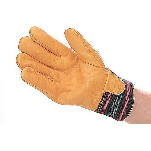Drivers Cowhide Leather Lined Gloves Yellow Pack of 5