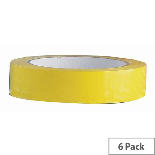 Vinyl Tape Regular Pack 24mm Yellow Pack of 6
