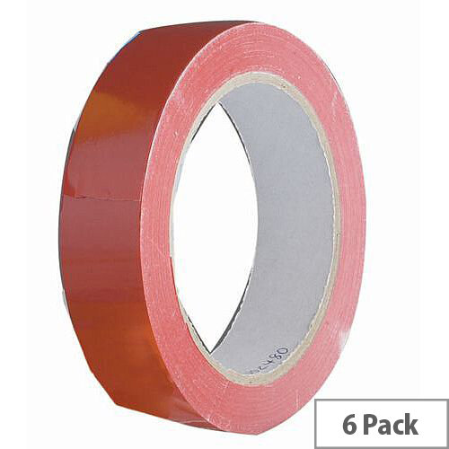Vinyl Tape Regular Pack 48mm Red Pack of 6