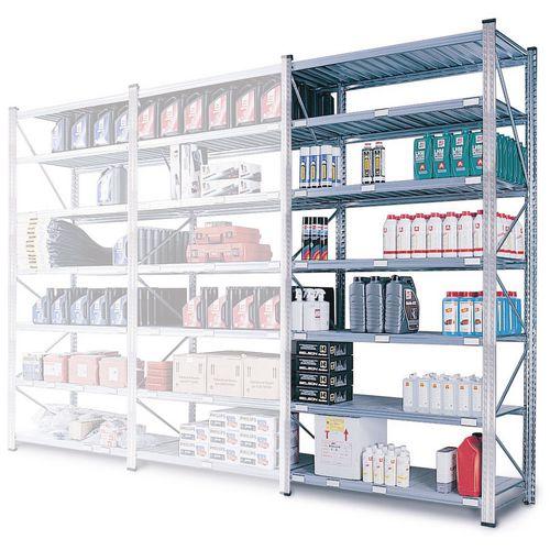 Zinc Plated Boltless Steel Shortspan Shelving Add-On Bay HxWxD 2000x900x500mm - 6 Shelf Levels, 185kg Shelf Capacity