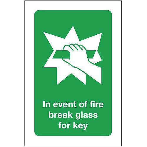 Self Adhesive Vinyl In Event Of Fire Break Glass For Key Sign