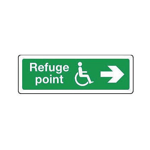 Self Adhesive Vinyl Emergency Escape Sign For The Physically Impaired Refuge Point Arrow Right