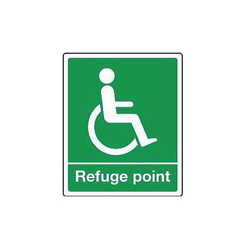 Self Adhesive Vinyl Emergency Escape Sign For The Physically Impaired Refuge Point