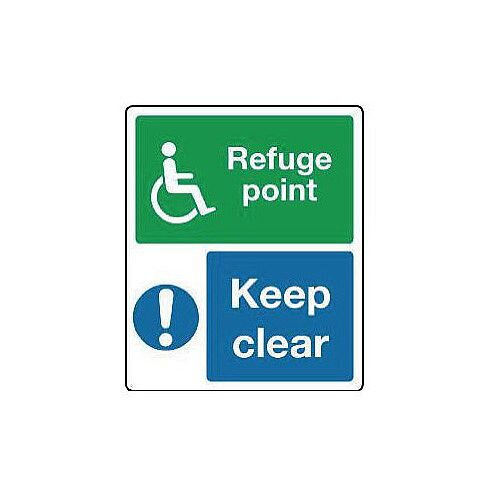 Self Adhesive Vinyl Emergency Escape Sign For The Physically Impaired Refuge Point Keep Clear