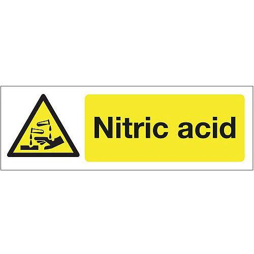 Self Adhesive Vinyl Chemical And Substance Hazards Sign Nitric Acid