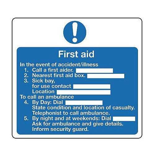 Self Adhesive Vinyl Safe Condition And First Aid Sign First Aid Sign Instructions