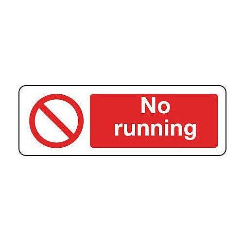 Self Adhesive Vinyl General Prohibition Sign No Running Landscape