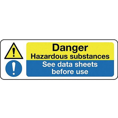 Self Adhesive Vinyl Multi-Purpose Hazard Sign Danger Hazardous Substances See Data Sheets Before Use