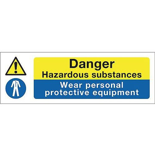 Self Adhesive Vinyl Multi-Purpose Hazard Sign Danger Hazardous Substances Wear Personal Protective Equipment