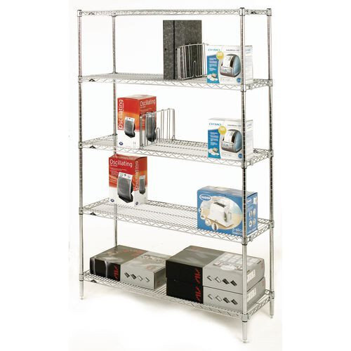 Olympic Chrome Wire Shelving System 1895mm High Starter Unit WxD 1067x356mm 5 Shelves &4 Posts 350kg Shelf Capacity