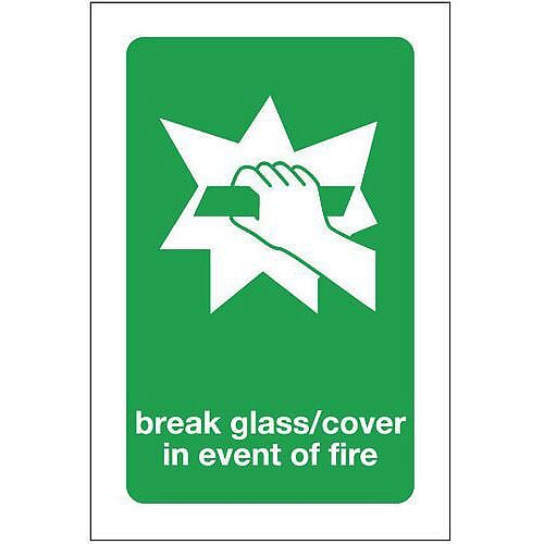 Self Adhesive Vinyl Break Glass Cover In Event Of Fire Sign