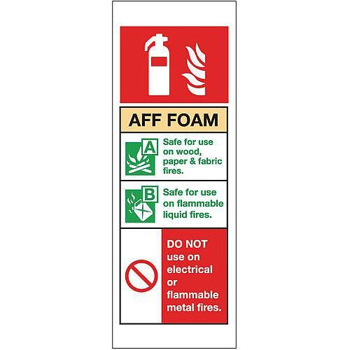 Self Adhesive Vinyl Fire Extinguisher Sign Aff Foam