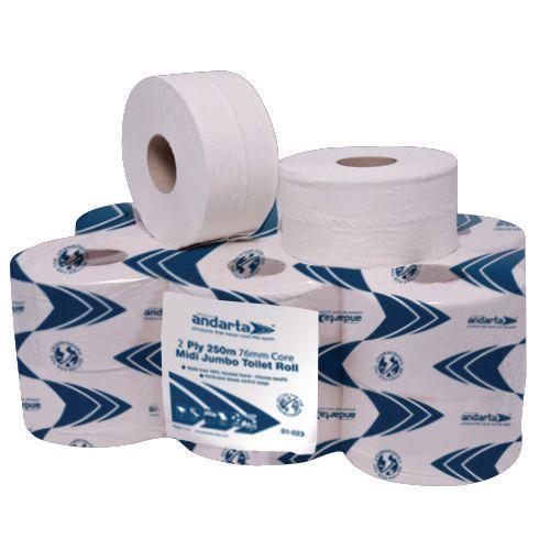 Andarta Standard Jumbo Dispenser Toilet Tissue Refill Roll 300m 2 Ply White Toilet Tissue Pack 6