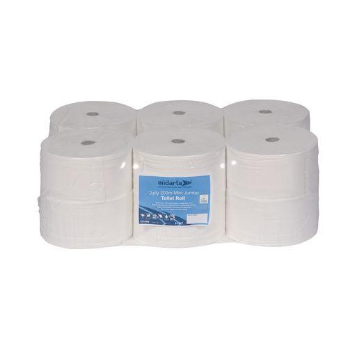 Andarta Premium Mini Jumbo Dispenser Toilet Paper Tissue Rolls 200m 2-Ply White Toilet Tissue Refills Pack 12