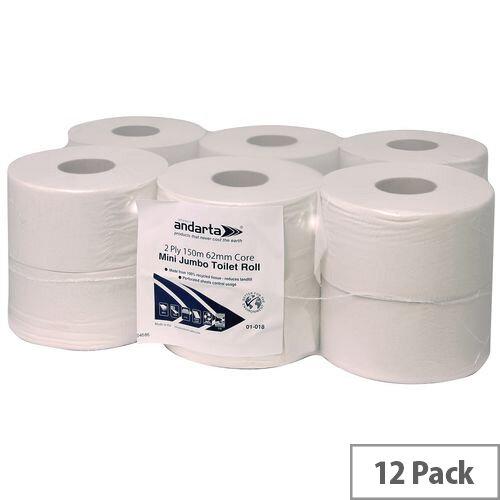 Andarta Standard Mini Jumbo Dispenser Toilet Tissue Refill Rolls 150m 2 Ply White Toilet Tissue Pack 12