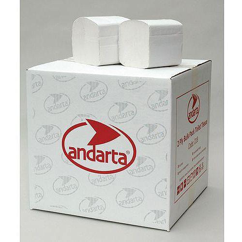 Andarta Dispenser White Folded Bulk Toilet Paper 2-Ply Tissues Sleeves 30 Each 252 Sheets per Sleeve
