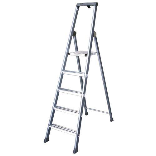 Extra Deep Tread Aluminium Step Ladder Platform 8 Tread Height 1.75m Silver