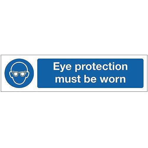 Rigid Plastic Mini Mandatory Safety Sign Eye Protection Must Be Worn