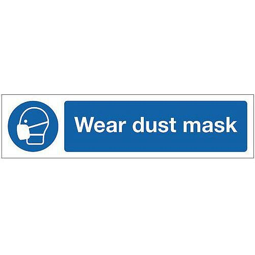 Rigid Plastic Mini Mandatory Safety Sign Wear Dust Mask