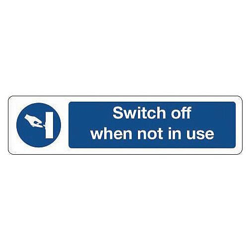 Rigid Plastic Mini Mandatory Safety Sign Switch Off When Not In Use