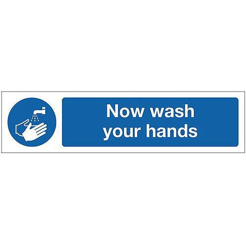 Rigid Plastic Mini Mandatory Safety Sign Now Wash Your Hands