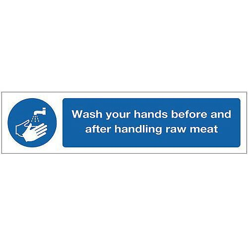 Rigid Plastic Mini Mandatory Safety Sign Wash Your Hands Before Handling Raw Meat