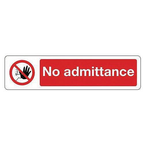 Rigid Plastic Mini Prohibition Sign No Admittance
