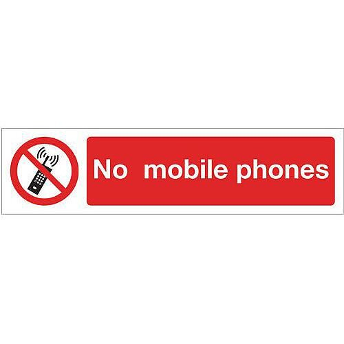 Rigid Plastic Mini Prohibition Sign No Mobile Phones