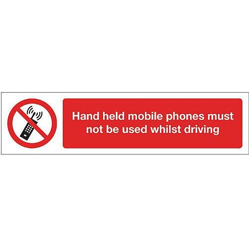 Rigid Plastic Mini Prohibition Sign Hand Held Mobile Phones Must Not Be Used Whilst Driving