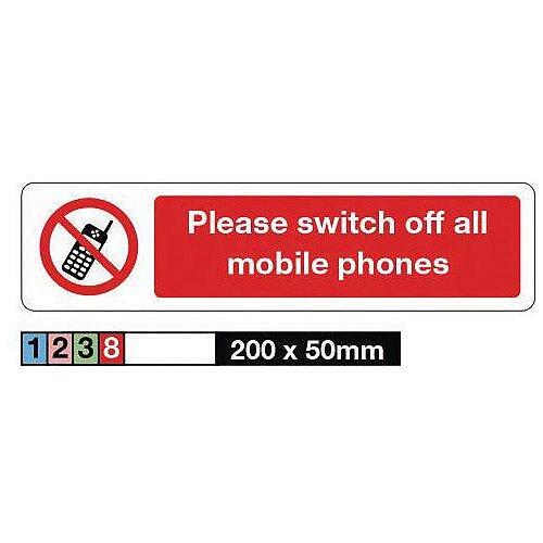Rigid Plastic Mini Prohibition Sign Please Switch Off All Mobile Phones