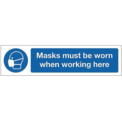 Vinyl Mini Mandatory Safety Sign Masks Must Be Worn When Working Here