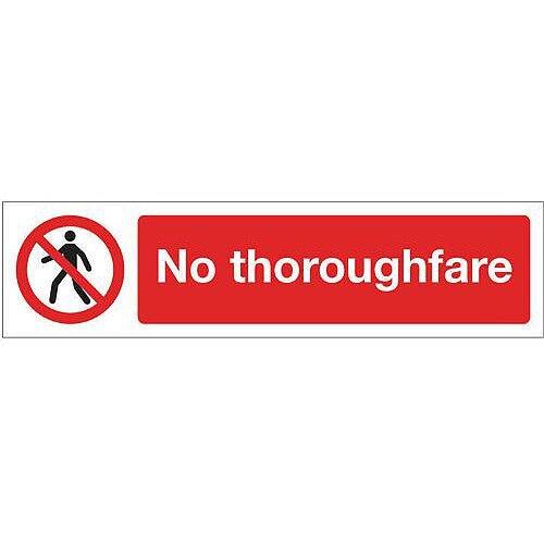 Vinyl Mini Prohibition Sign No Thoroughfare 200 x 50mm