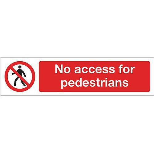 Vinyl Mini Prohibition Sign No Access For Pedestrians 200 x 50mm