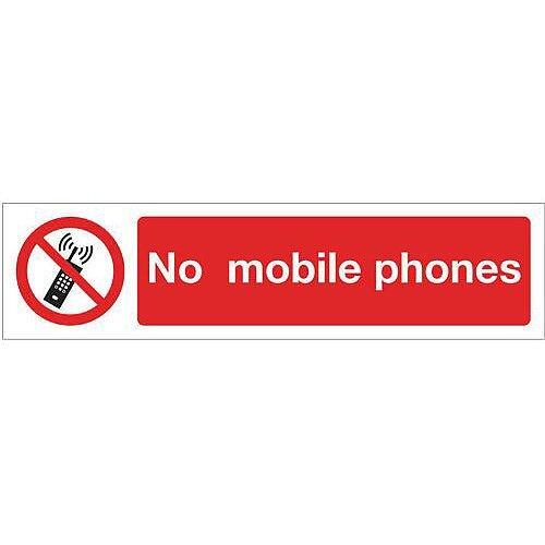 Vinyl Mini Prohibition Sign No Mobile Phones 200 x 50mm