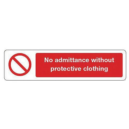 Vinyl Mini Prohibition Sign No Admittance Without Protective Clothing 200 x 50mm