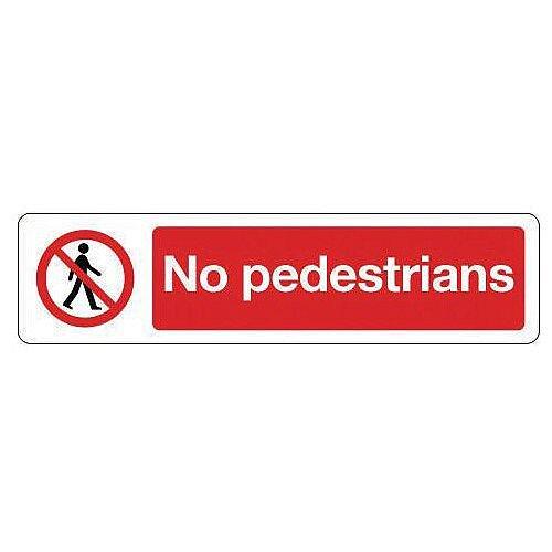 Vinyl Mini Prohibition Sign No Pedestrians 200 x 50mm