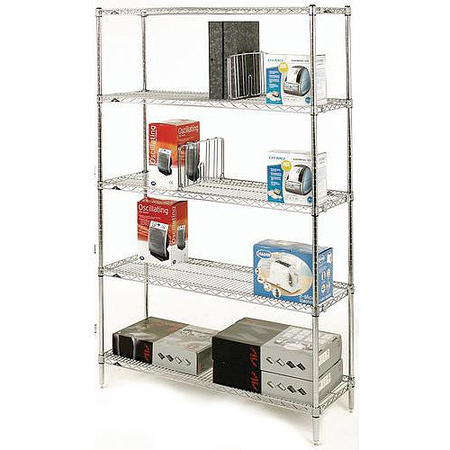 Olympic Chrome Wire Shelving System 1895mm High Starter Unit WxD 1829x356mm 5 Shelves &4 Posts 275kg Shelf Capacity