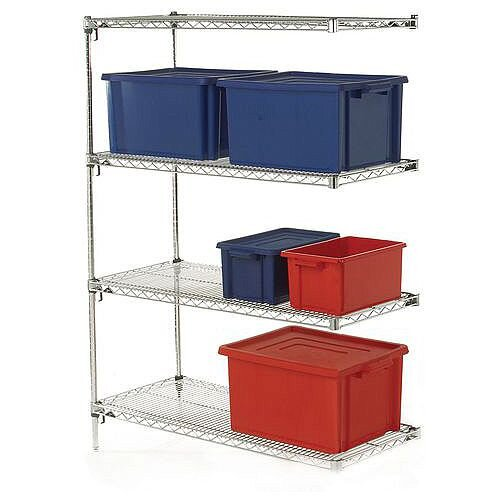 Metro Quick Adjusting Chrome Wire Shelving System 1590mm High Add-On Unit WxD 1067x356mm 4 Shelves &2 Posts 350kg Shelf Capacity