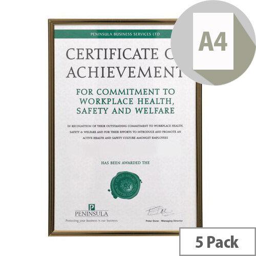 Black &Gold Pinstripe A4 Certificate Frame 5 Pack