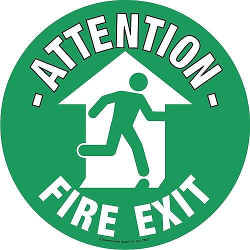 Floor Graphic Marker Fire Exit Sign 430mm Diameter