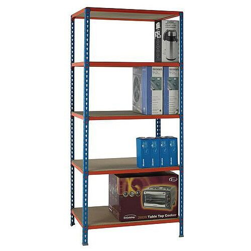 Simonclick Standard Duty Boltless Chipboard 5 Shelf Unit HxWxD 2000x900x300mm - 200kg Shelf Capacity, 5 Year Guarantee