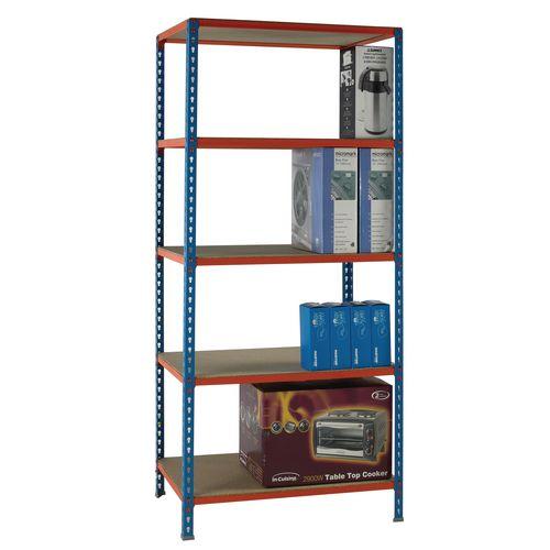 Simonclick Standard Duty Boltless Chipboard 5 Shelf Unit HxWxD 2000x900x400mm - 200kg Shelf Capacity, 5 Year Guarantee