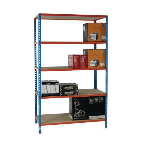 Simonclick Standard Duty Boltless Chipboard 5 Shelf Unit HxWxD 2000x1200x300mm - 175kg Shelf Capacity, 5 Year Guarantee