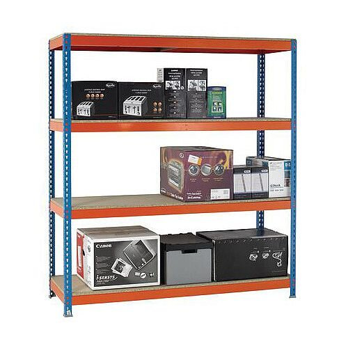 2m High Heavy Duty Boltless Chipboard Shelving Unit W1500xD450mm 600kg Shelf Capacity With 4 Shelves - 5 Year Warranty