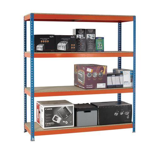 2m High Heavy Duty Boltless Chipboard Shelving Unit W1500xD600mm 600kg Shelf Capacity With 4 Shelves - 5 Year Warranty