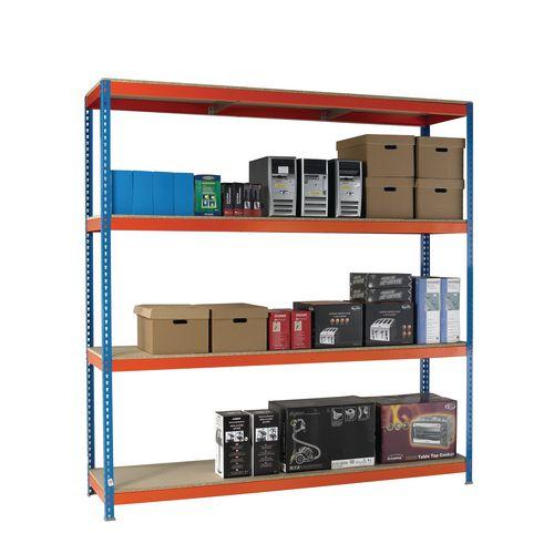 2.5m High Heavy Duty Boltless Chipboard Shelving Unit W1500xD600mm 600kg Shelf Capacity With 4 Shelves - 5 Year Warranty