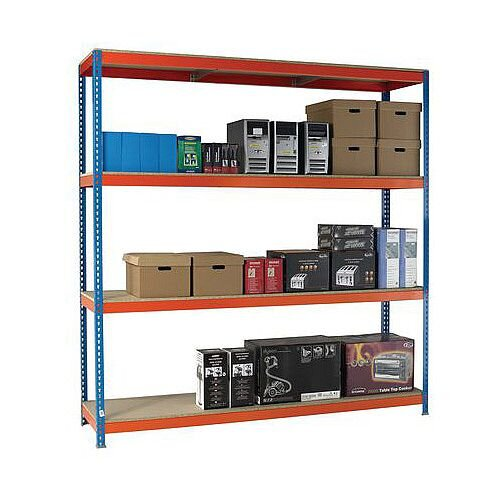 2.5m High Heavy Duty Boltless Chipboard Shelving Unit W1500xD750mm 600kg Shelf Capacity With 4 Shelves - 5 Year Warranty