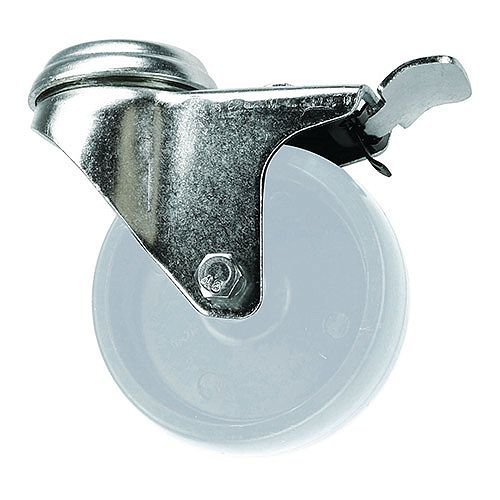 White Polypropylene Wheel, Single Hole Fixing - Swivel With Total-Stop Brake Load Capacity 100kg