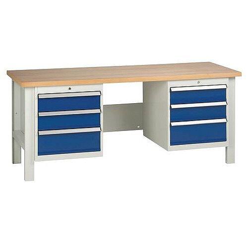 Medium Duty Workbench With 2 Triple Drawer Units H840 x L2000 x D650mm